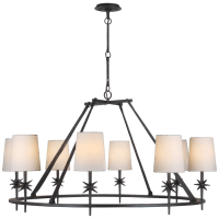 Etoile Large Chandelier in Black Rust with Linen Shades