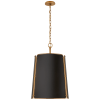 Hastings Large Pendant in Hand-Rubbed Antique Brass with Black Shade