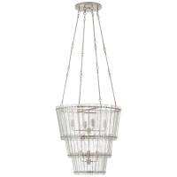 Cadence Medium Waterfall Chandelier in Polished Nickel with Antique Mirror