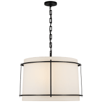 Callaway Large Hanging Shade in Bronze with Linen Shade and Frosted Acrylic Diffuser