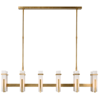 Malik Large Linear Chandelier in Hand-Rubbed Antique Brass with Alabaster