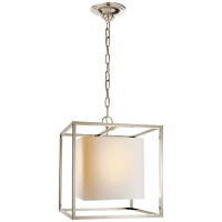 Caged Small Lantern in Polished Nickel with Natural Paper Shade