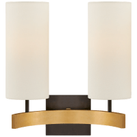 Aimee Double Sconce in Bronze and Hand-Rubbed Antique Brass with Linen Shades