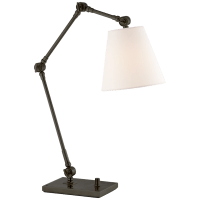 Graves Task Lamp in Bronze with Linen Shade