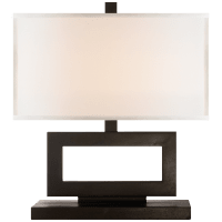 Mod Low Table Lamp in Aged Iron with Linen Shade