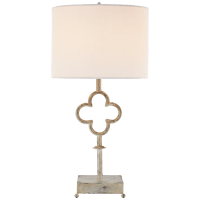 Quatrefoil Table Lamp in Belgian White with Linen Shade