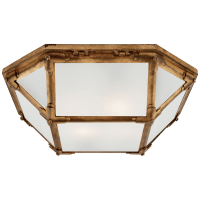 Morris Flush Mount in Gilded Iron with Frosted Glass