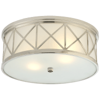Montpelier Large Flush Mount in Polished Nickel with Frosted Glass