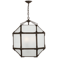 Morris Medium Lantern in Antique Zinc with Frosted Glass