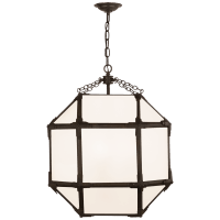 Morris Medium Lantern in Antique Zinc with White Glass