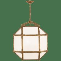 Morris Medium Lantern in Gilded Iron with White Glass