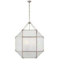 Morris Large Lantern in Polished Nickel with Frosted Glass