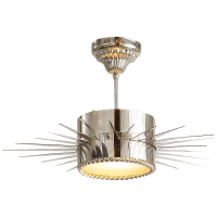 Soleil Medium Semi-Flush in Polished Nickel with Frosted Glass
