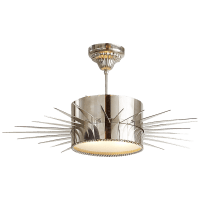 Soleil Large Semi-Flush in Polished Nickel with Frosted Glass