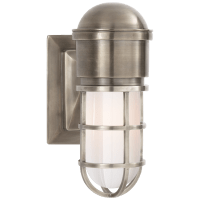 Marine Wall Light in Antique Nickel with White Glass