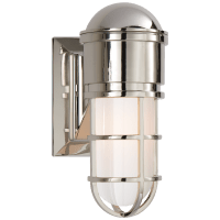Marine Wall Light in Polished Nickel with White Glass