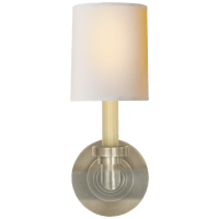 Wilton Single Sconce in Antique Nickel with Natural Paper Shade