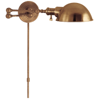 Boston Swing Arm in Hand-Rubbed Antique Brass with SLG Shade