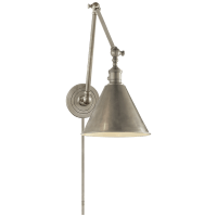 Boston Functional Double Arm Library Light in Antique Nickel