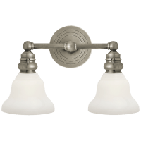 Boston Functional Double Light in Antique Nickel with White Glass