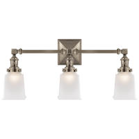 Boston Square Triple Light Sconce in Antique Nickel with Frosted Glass