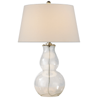 Open Bottom Gourd Table Lamp in Clear Glass with Linen Shade