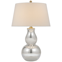 Open Bottom Gourd Table Lamp in Mercury Glass with Linen Shade