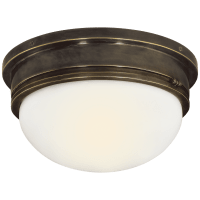 Marine Large Flush Mount in Bronze with White Glass