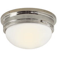 Marine Large Flush Mount in Chrome with White Glass