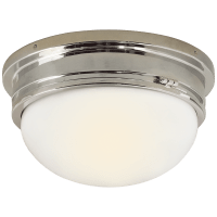 Marine Large Flush Mount in Polished Nickel with White Glass