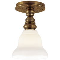 Boston Single Flush Mount in Hand-Rubbed Antique Brass with SLEG Shade