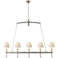 Classic Linear Chandelier in Antique Nickel with Natural Paper Shades