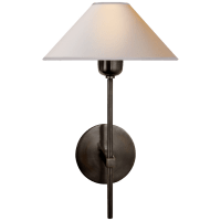 Hackney Single Sconce in Bronze with Natural Paper Shade