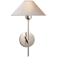 Hackney Single Sconce in Polished Nickel with Natural Paper Shade