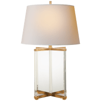 Cameron Table Lamp in Crystal and Gilded Iron with Natural Paper Shade