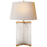 Cameron Table Lamp in Quartz and Gilded Iron with Natural Paper Shade
