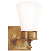 Siena Single Sconce in Hand-Rubbed Antique Brass with White Glass