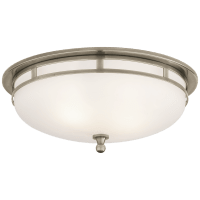 Openwork Large Flush Mount in Antique Nickel with Frosted Glass
