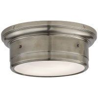 Siena Small Flush Mount in Antique Nickel with White Glass