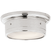 Siena Small Flush Mount in Polished Nickel with White Glass