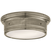 Siena Large Flush Mount in Antique Nickel with White Glass
