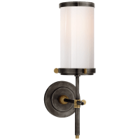 Bryant Bath Sconce in Bronze and Hand-Rubbed Antique Brass with White Glass