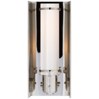 Greenwich Sconce in Polished Nickel with White Glass
