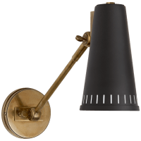 Antonio Adjustable One Arm Wall Lamp in Hand-Rubbed Antique Brass with Matte Black Shade