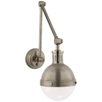 Hicks Library Light in Antique Nickel with White Glass