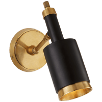 Anders Small Articulating Wall Light in Hand-Rubbed Antique Brass and Black