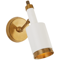 Anders Small Articulating Wall Light in Hand-Rubbed Antique Brass and White