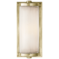Dresser Short Glass Rod Light in Antique Nickel with Frosted Glass Liner