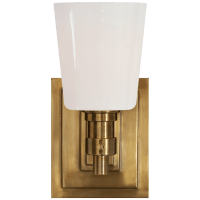 Bryant Single Bath Sconce in Hand-Rubbed Antique Brass with White Glass