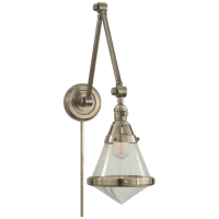 Gale Library Wall Light in Antique Nickel with Seeded Glass